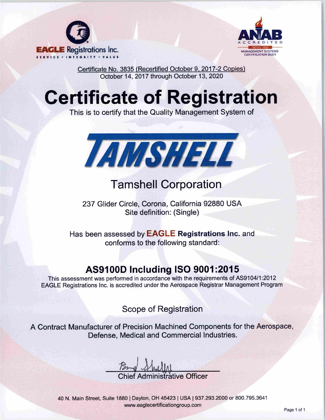 Quality certifications tamshell precision machining machine shop if you require a pdf version or have any additional questions please contact us iso certified 1betcityfo Choice Image