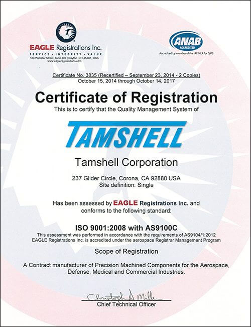 Tamshell ISO 9001 AS9100